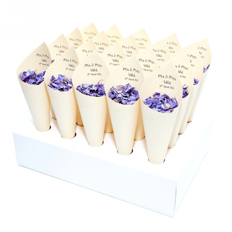 Modern Mr & Mrs Confetti Cone Package