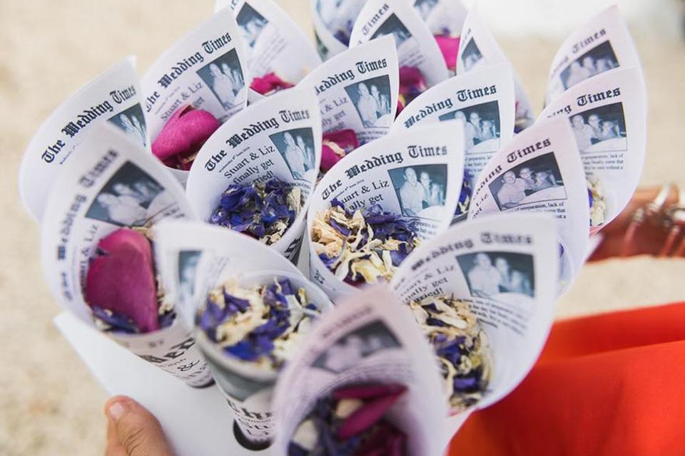 Custom confetti cones with purple petals