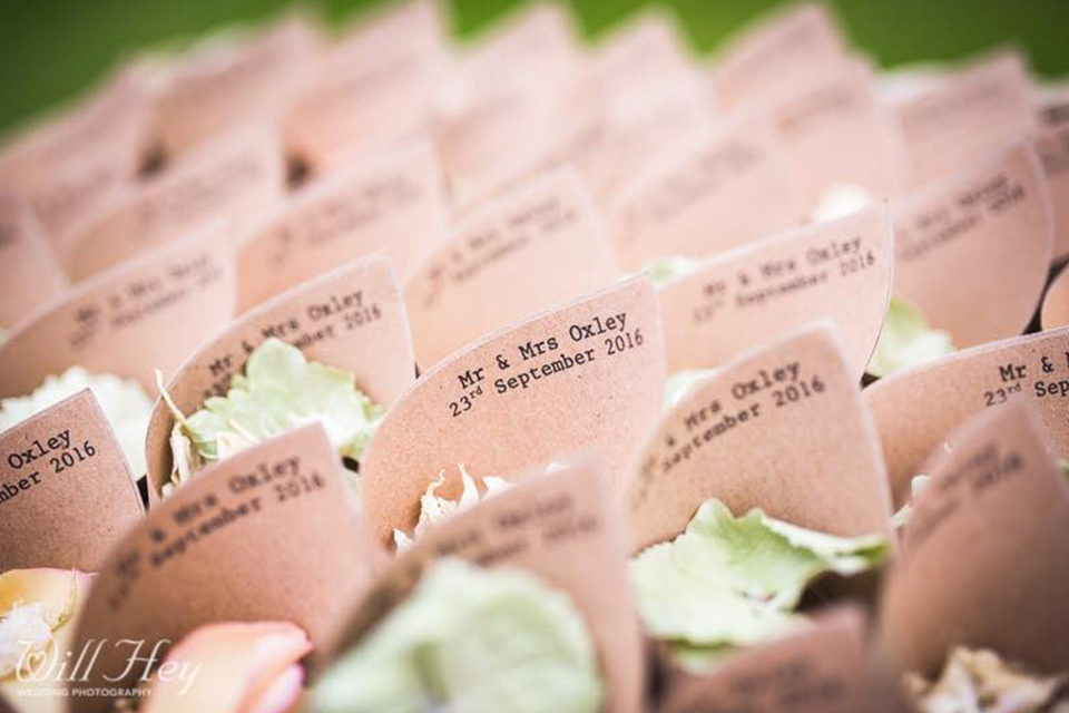 Personalised Confetti cones with biodegradable wedding petals