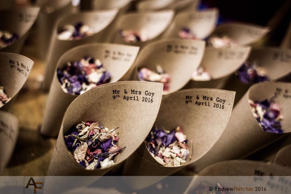 Personalised Kraft paper confetti cones