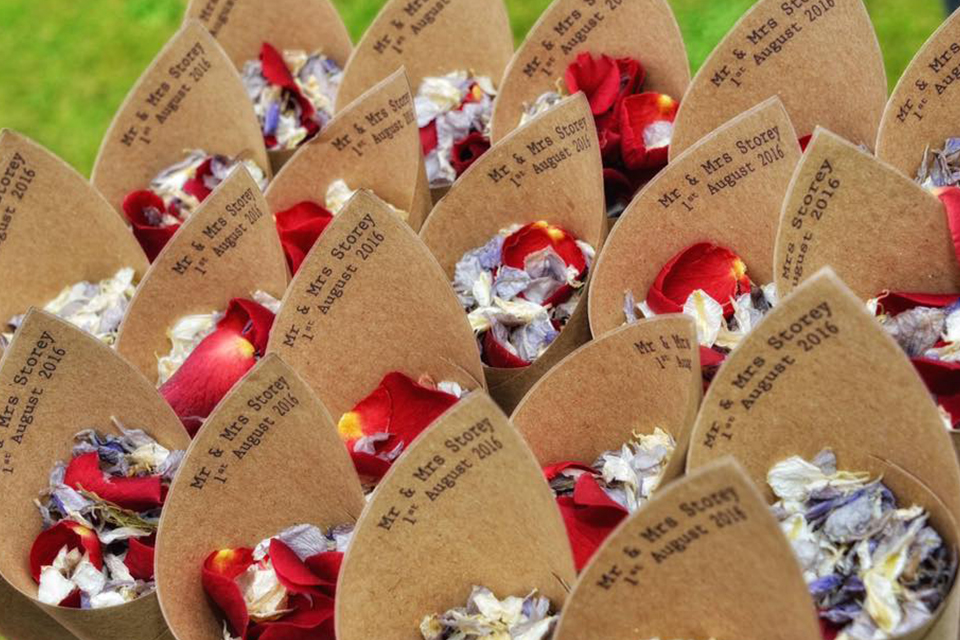 Confetti cones with red natural confetti petals
