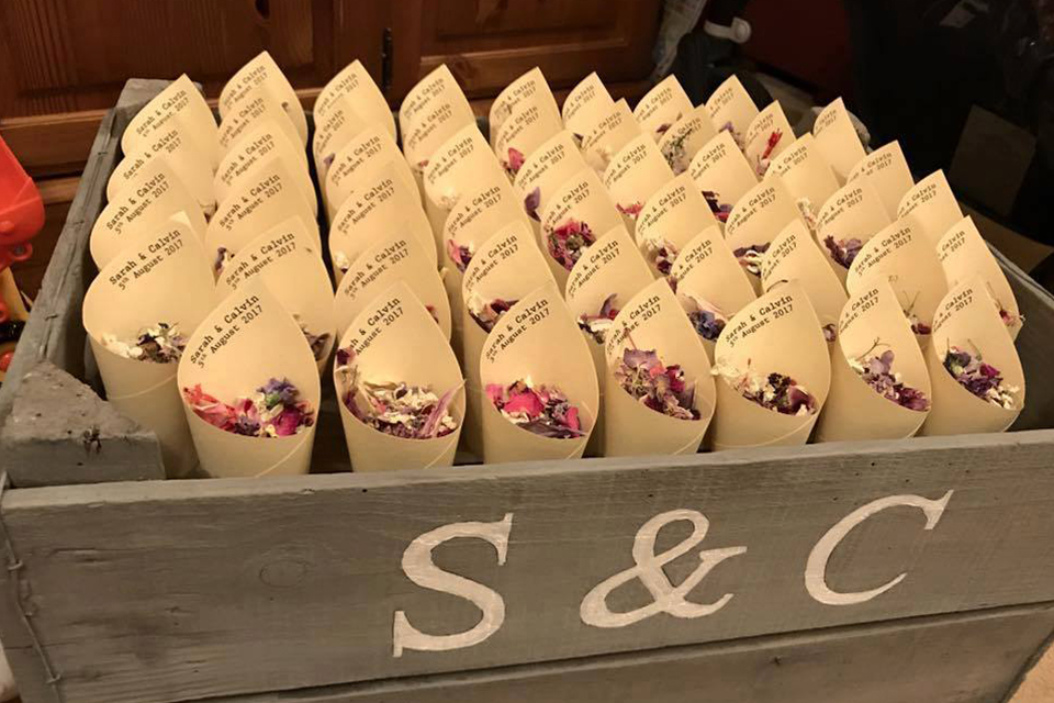 Personalised confetti cones with biodegradable petals