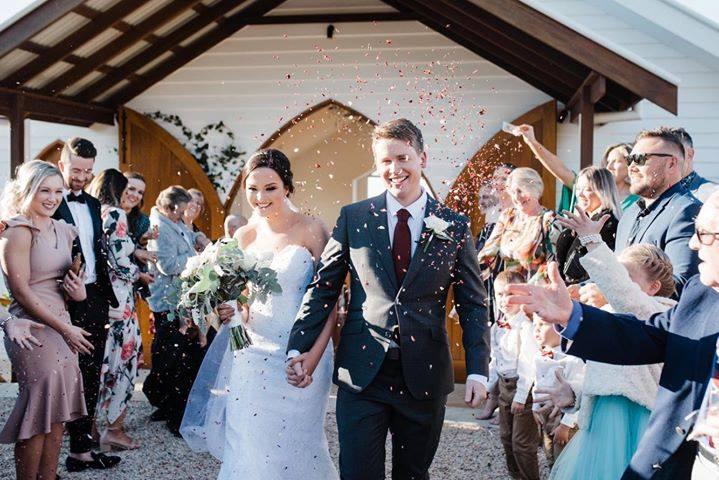 Larkspur petal wedding confetti moment