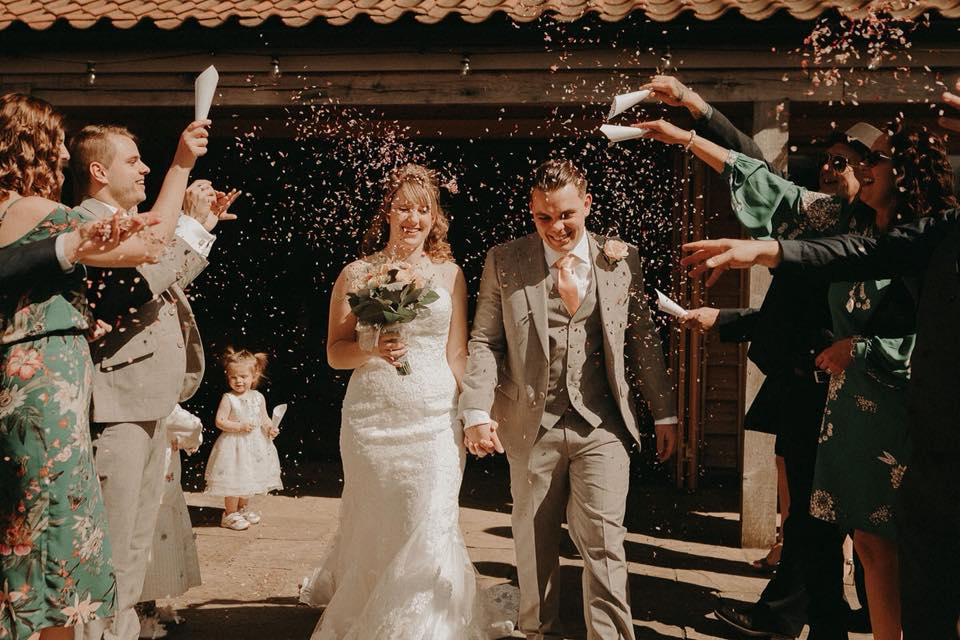Custom natural petal confetti mix wedding shot